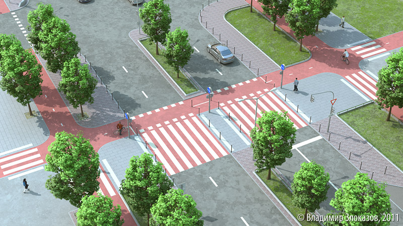 Coloured crossing at intersection