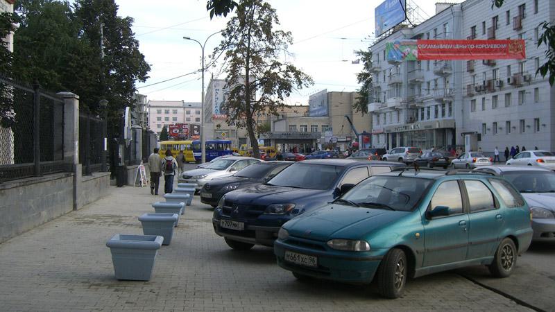 Parking encroaches on pedestrian realm