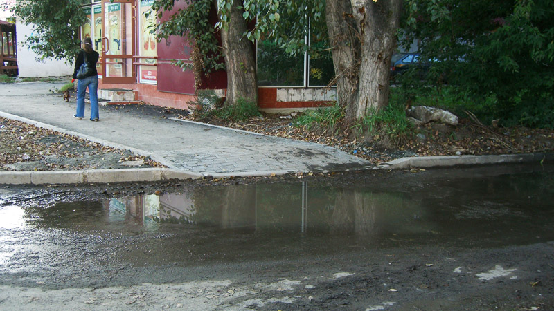 Puddle at pedestrian passage