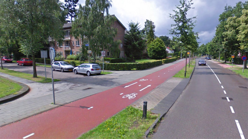 Red cycle path in the Netherlands