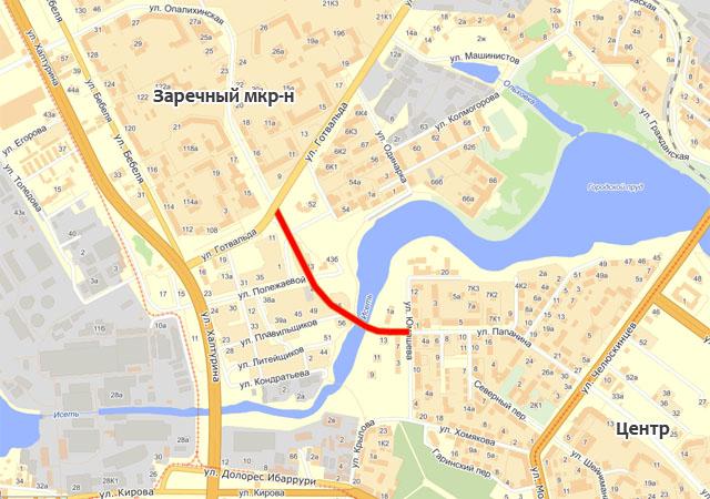 нового моста через Исеть.