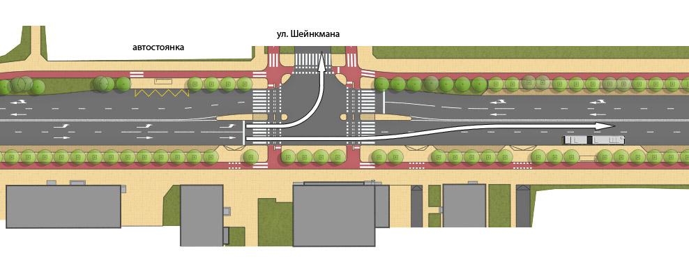 Объезд зоны автобусной остановки