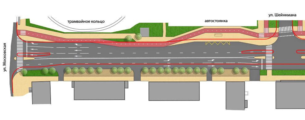 План с наложенным профилем альтернативного варианта конфигурации проезжей части