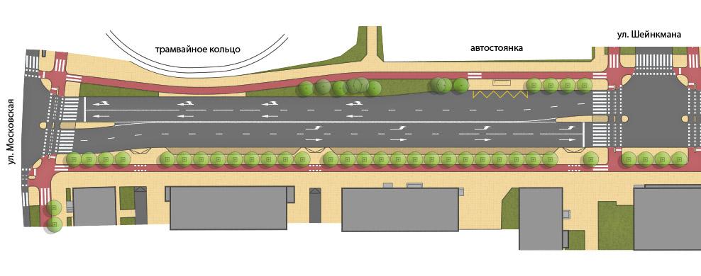 Измененный план с велодорожками по обеим сторонам улицы