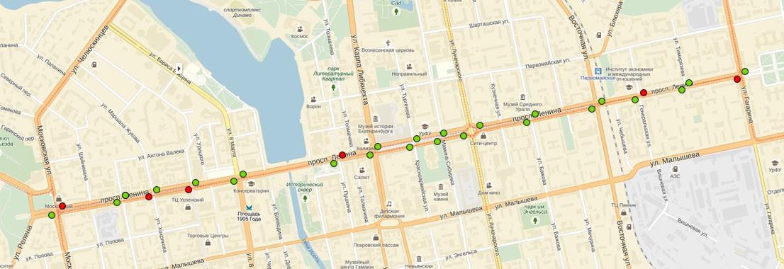 Движение по полосам в том или ином виде регулируется на большей части перекрестков (зеленые точки).