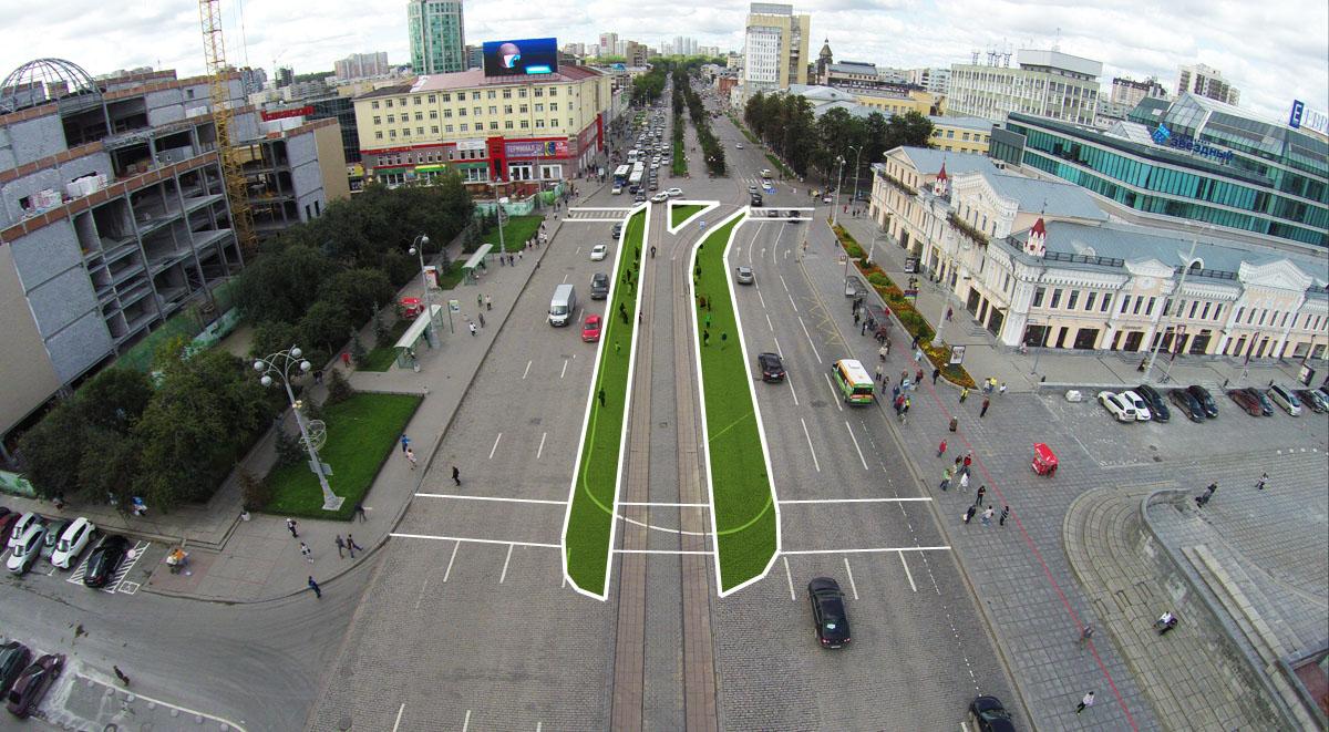 """Проспект Ленина. Остановка """"Площадь 1905 года"""""""