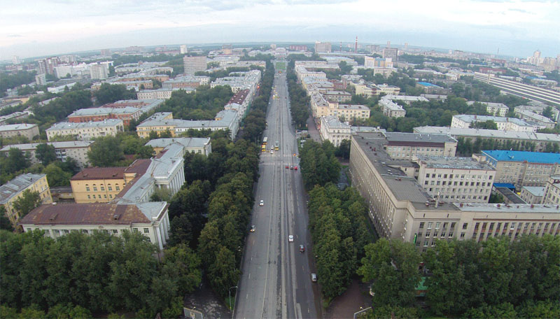 Проспект Ленина. Вид в сторону УПИ