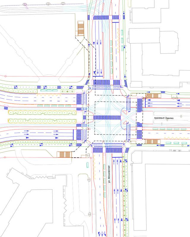 Предлагаемое размещение трамвайных платформ на Ленина-Московской