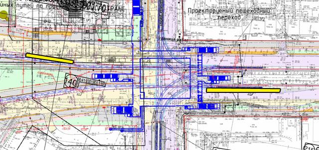 Проектное размещение трамвайных платформ на перекрестке Ленина-Московская