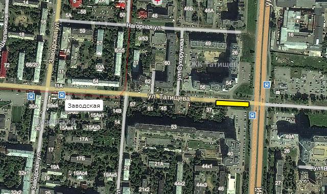 Предлагаемое размещение остановки трамвая на Татищева-Токарей