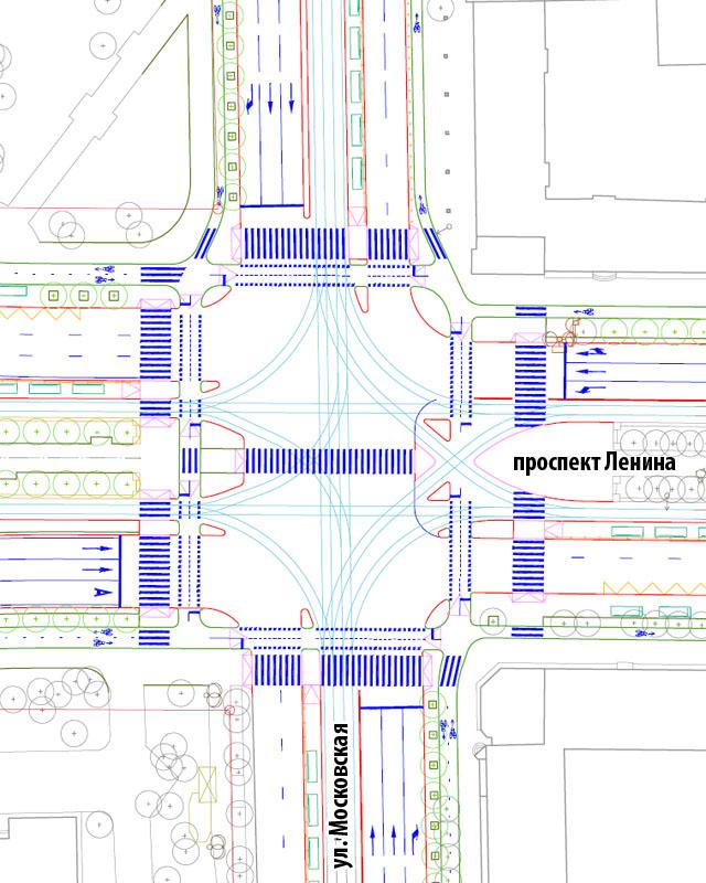 Перекресток Ленина-Московская без подземных переходов