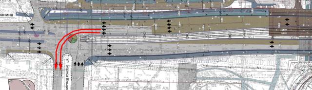 Две полосы для поворота на Ельцина в сторону центра