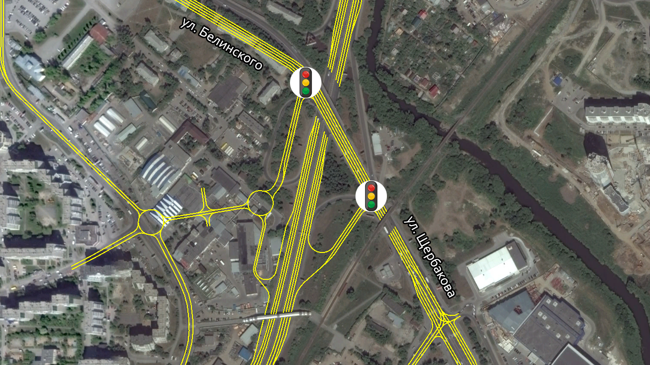 Неполный клевер на развязке Объездная-Белинского
