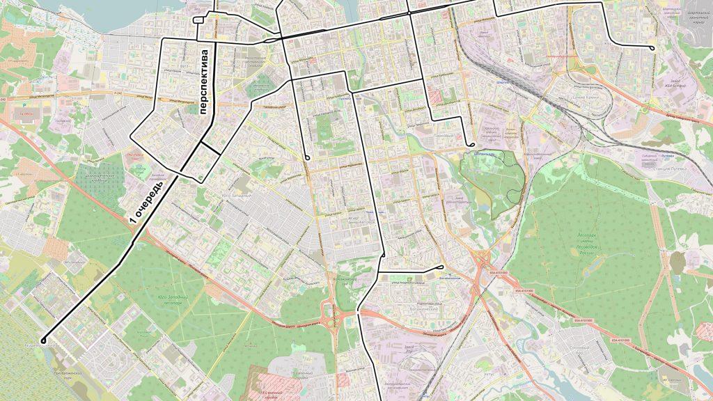 Трассировка новой трамвайной линии из Академического района Екатеринбурга