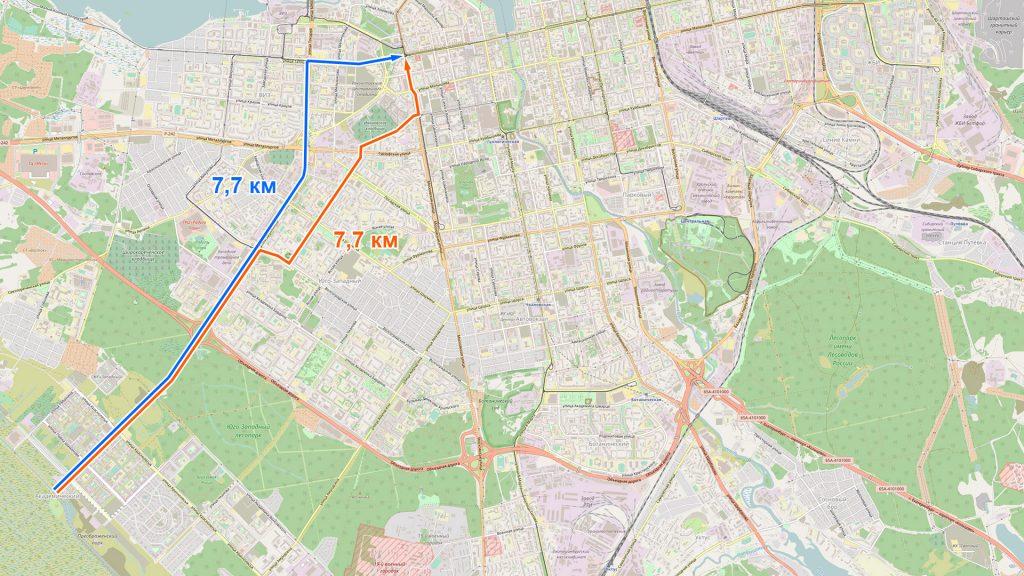 Путь из Академического в центр через Белореченскую-Радищева-Московскую и через Серафимы Дерябиной-Токарей-Татищева совпадает по длине до десятков метров.