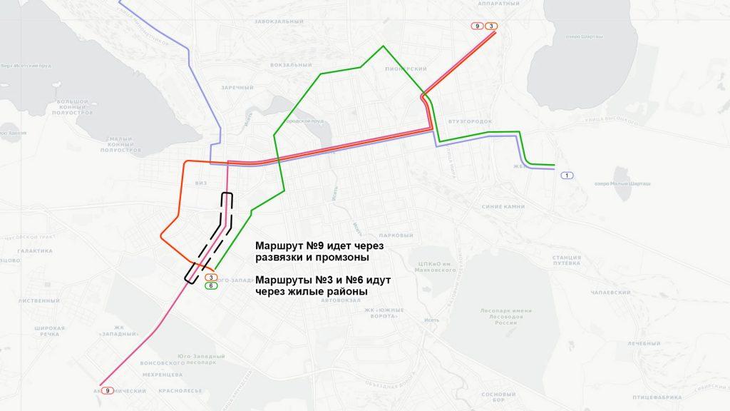 На улице Серафимы Дерябиной маршрут пройдет по зоне, где не будет пассажиропотока из-за транспортных развязок и промзон.