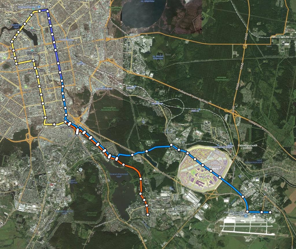3-я очередь строительства трамвайной линии. Связь с аэропортом.