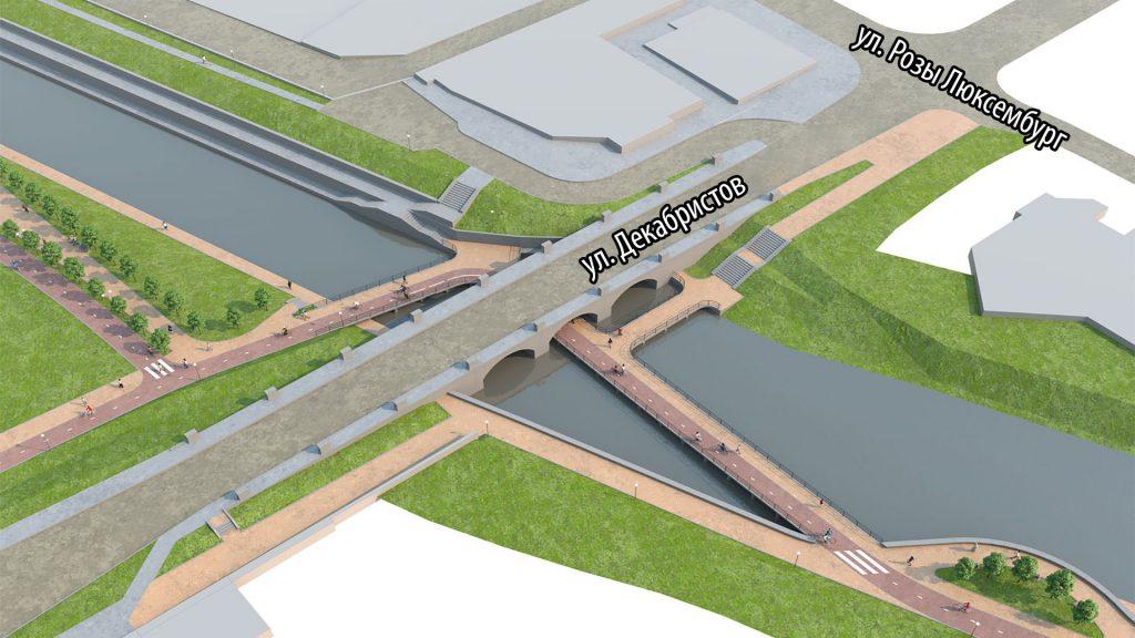Велопешеходный мост под мостом на улице Декабристов