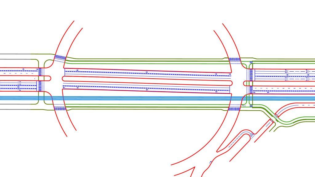 Вариант организации движения через кольцо с выделенными полосами. Отправлен в УКС и проектировщикам развязки в прошлом году.