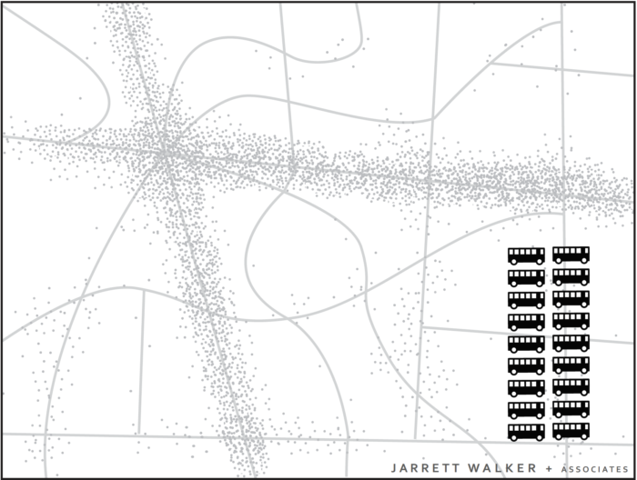 Вымышленный город: точки показывают расположение мест проживания и работы.