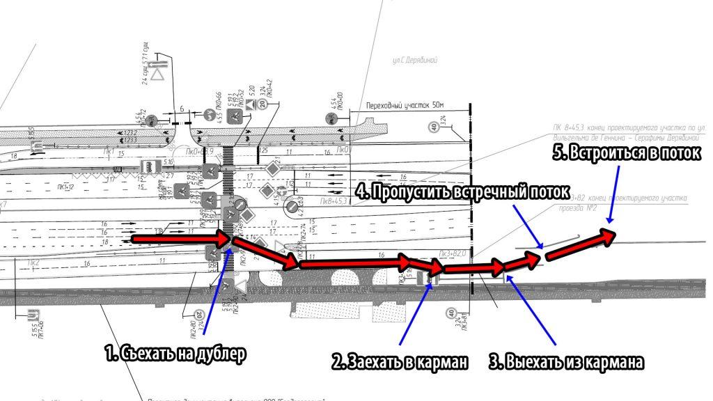 Полная препятствий траектория движения автобуса по улице Серафимы Дерябиной в сторону центра.