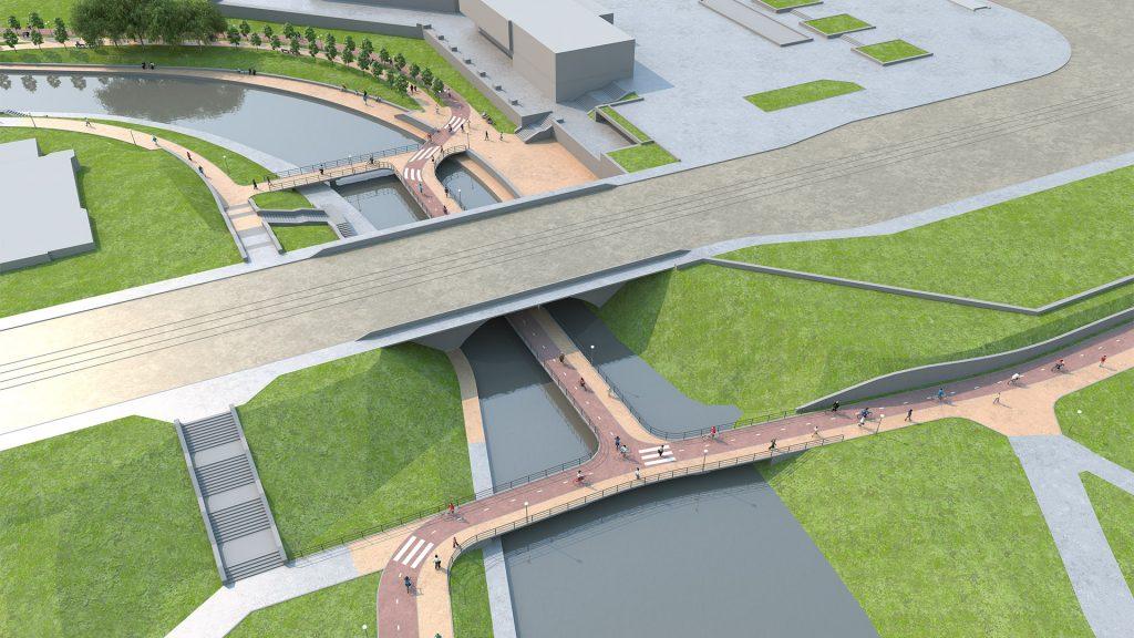 Велопешеходный мост под мостом на Куйбышева. Вид со стороны Дендрария. Изображение: LATOON