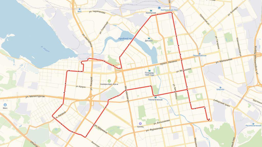 Трамвайное кольцо, образуемое маршрутами 3 и 21.