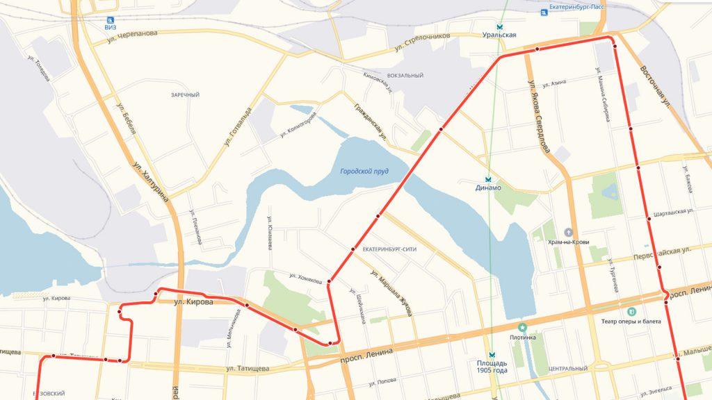 Северная часть трамвайных маршрутов 3 и 21.