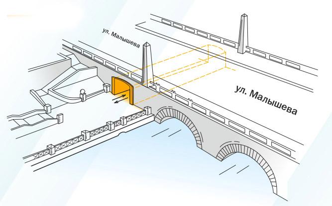 Проход под Каменным мостом на улице Малышева. Изображение: Е1