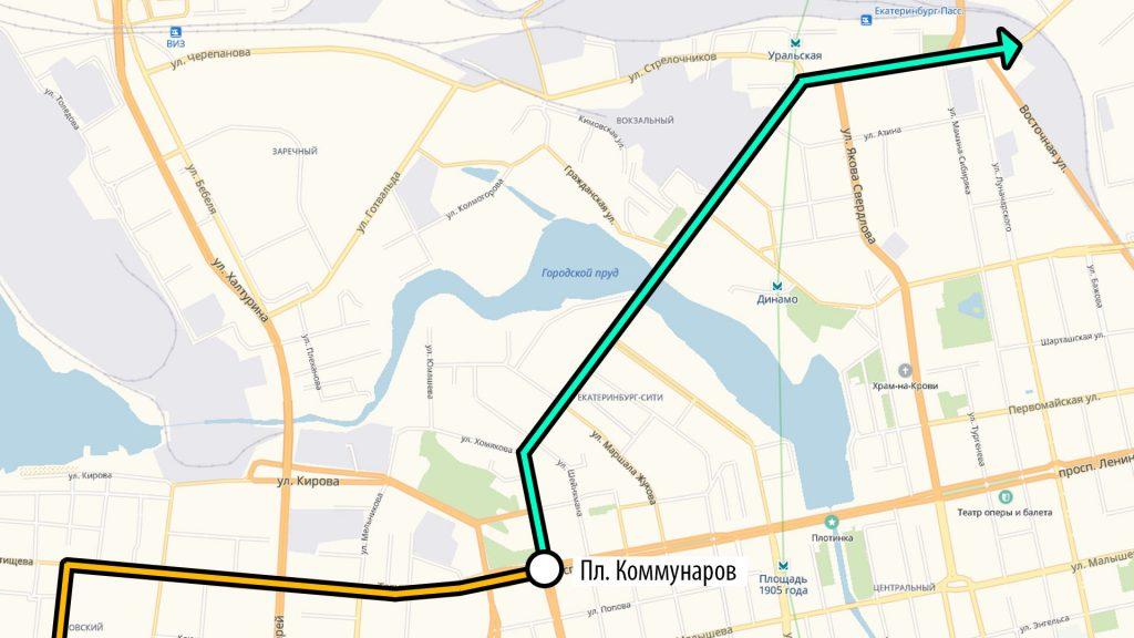 Путь с ВИЗа до ж/д вокзала на трамваев в новой маршрутной сети.