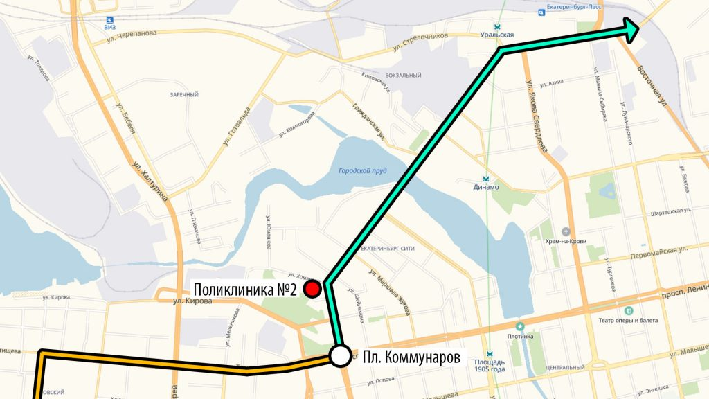 Поликлиника №2 находится в одной трамвайной остановке от Площади Коммунаров.