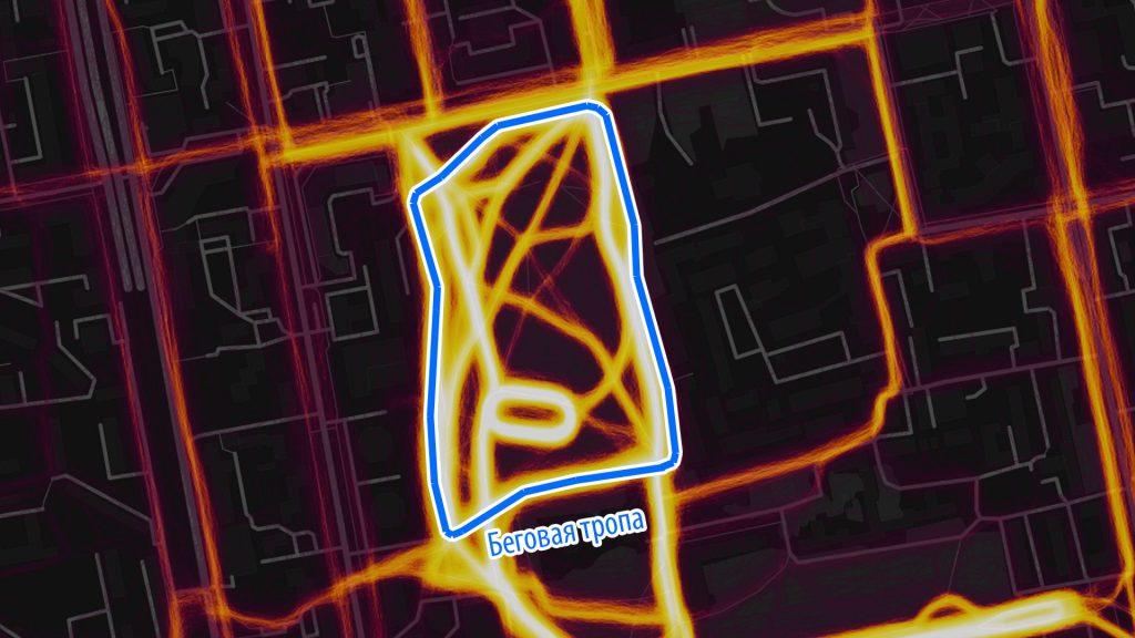 Тепловая карта активностей Strava: у бегунов в Зеленой Роще своя тропа. Она никак не учтена в проекте.
