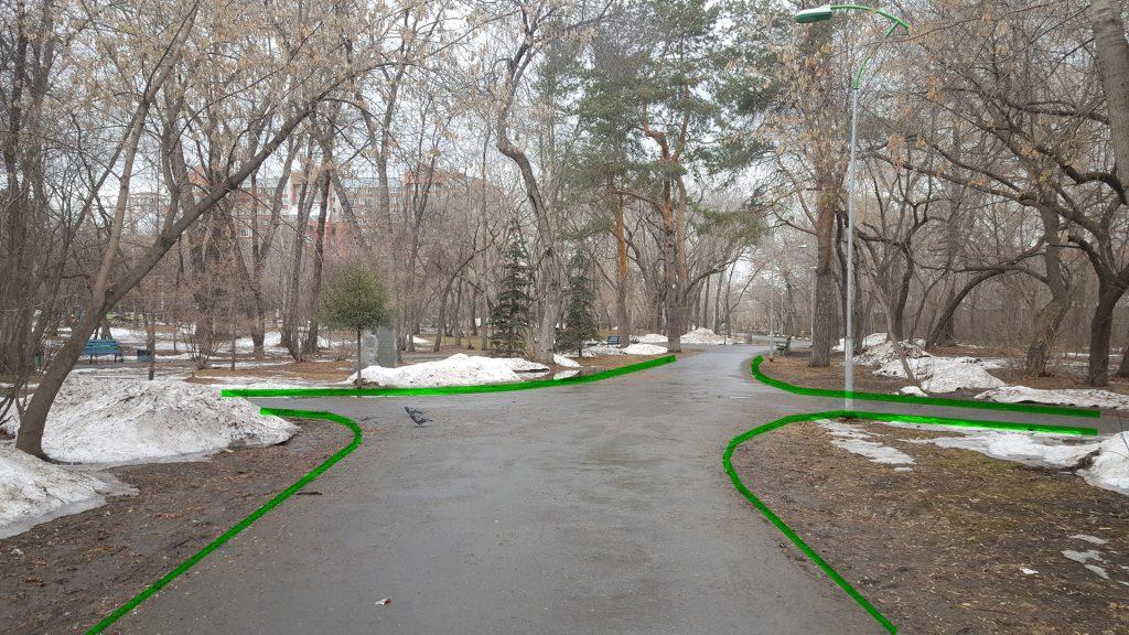 Закругленные углы существующих дорожек в Зеленой Роще.