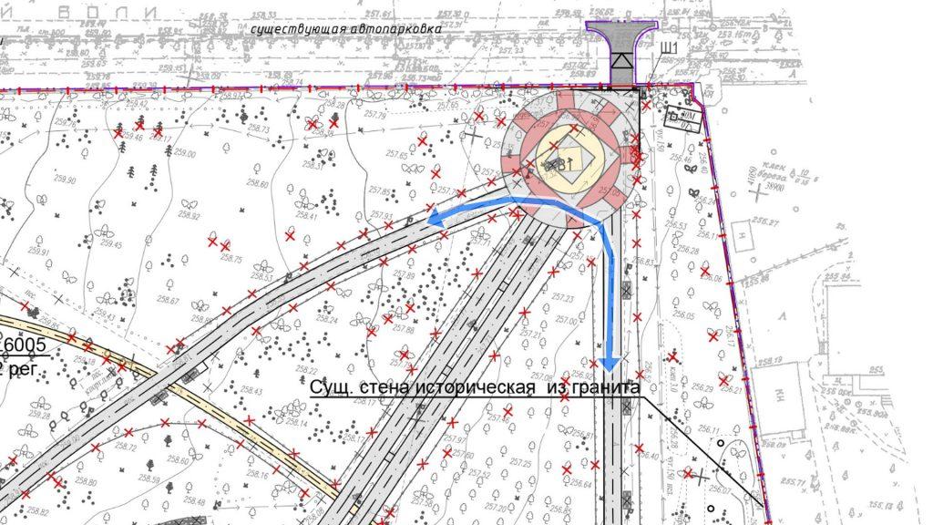 Поворот, которые все гуляюшие и бегающие совершают в районе входа с улицы Хохрякова. Проект никак не отражает это направление движения.