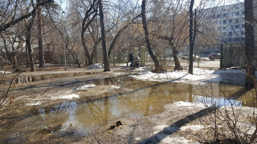 Самое низкое место в парке. По замыслу архитекторов здесь будет дорожка и входная группа. Как отсюда будет утекать вода - неизвестно.