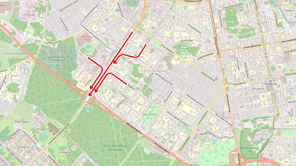 Участок улицы Серафимы Дерябиной между Объездной и Бардина является сегодня бутылочным горлышком.