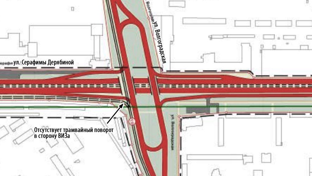 Отсутствие левого поворота в сторону ВИЗа значительно уменьшает потенциал новой трамвайной линии.