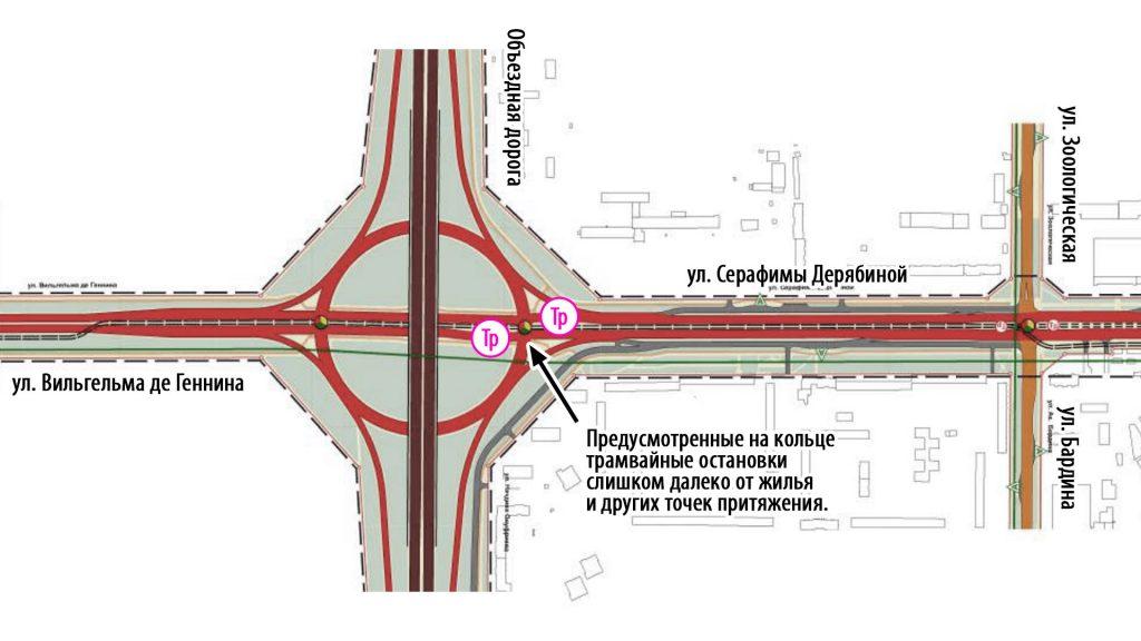 В текущем варианте проект не предусматривает трамвайной остановки в районе Горбольницы №6