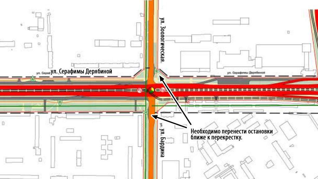 Необходимо перенести остановки ближе к перекрестку с улицей Серафимы Дерябиной.