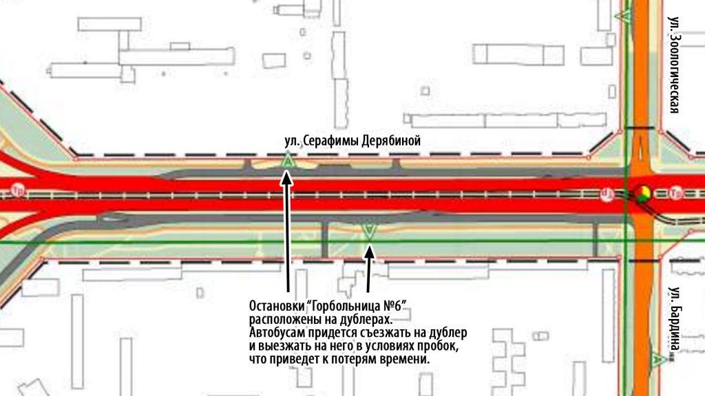 """Остановки """"Горбольница №6"""" расоложены на дублерах. Такое расположение приведет к потерям времени для автобусов."""