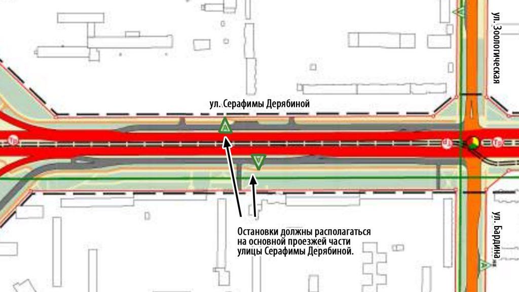 Остановки на улице Серафимы Дерябиной должны располагаться на основной проезжей части улицы.