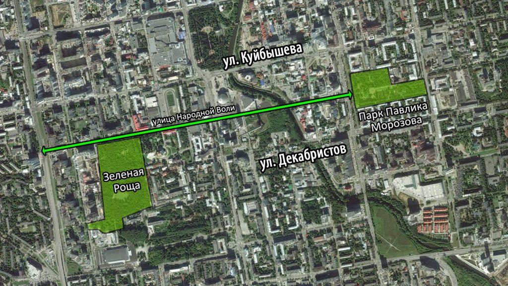 Улица Народной воли представляет собой потенциально удобный пешеходный и велосипедный маршрут