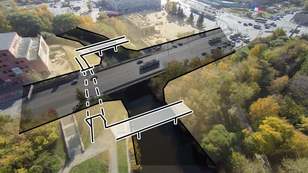 Чтобы соединить все части общественного пространства все равно потребуются мосты через реку