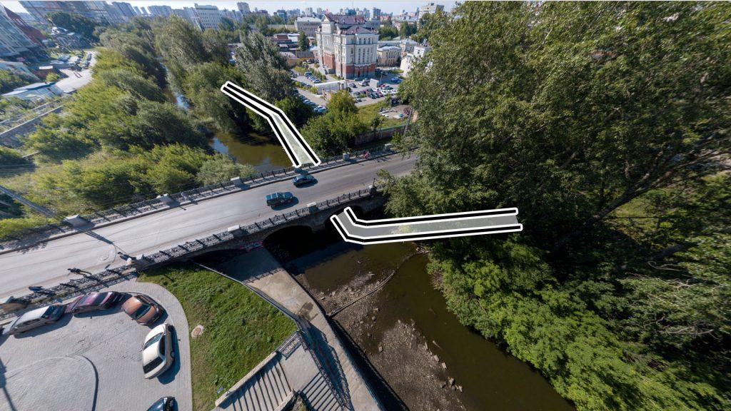 Мост под мостом на Декабристов через крайний пролет