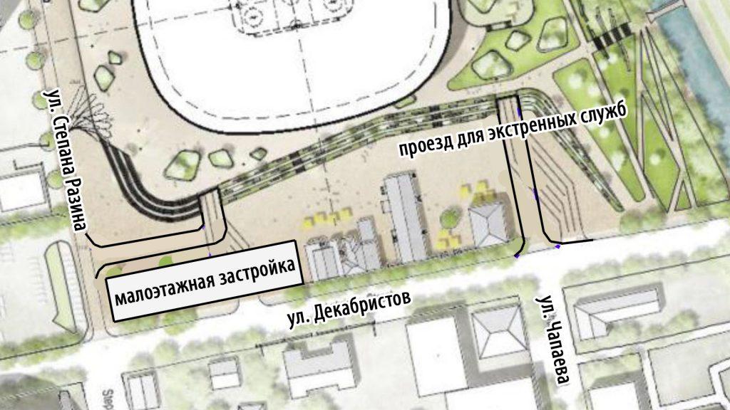 Нужно отказаться от проездов, выходящих на улицу Декабристов, а проезд со стороны Чапаева оставить, как технический