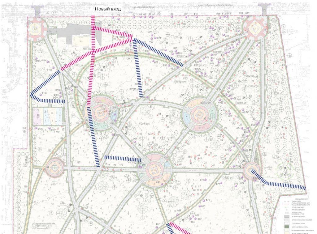 Мы предлагаем усилить сеть дорожек в северной части парка и создать новый вход с улицы Сакко и Ванцетти.