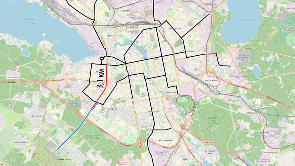Вторая очередь трамвайной линии запланирована по улицам Серафимы Дерябиной и Токарей.