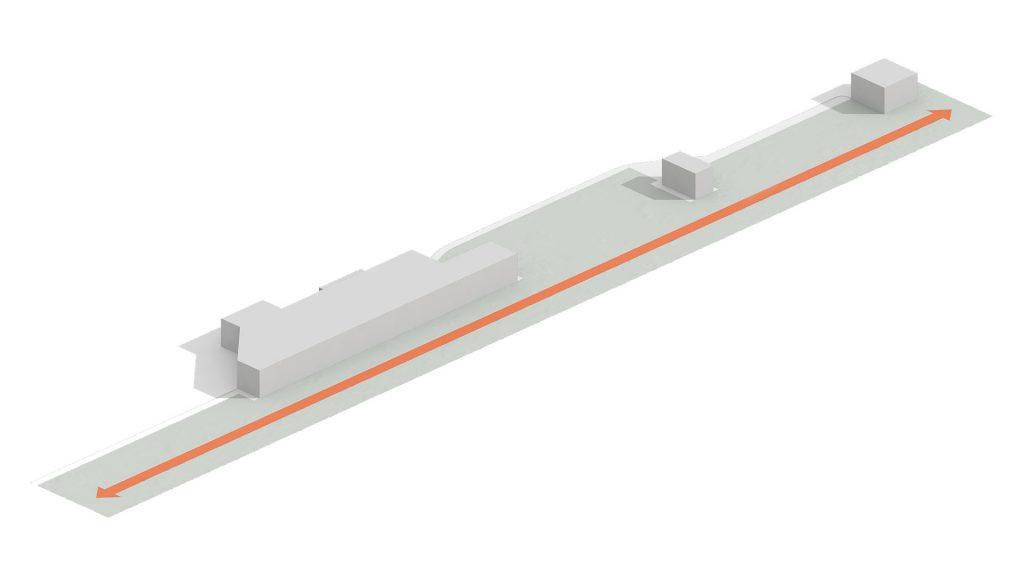Вытянутая форма и ограничения участка диктуют сценарий движения по нему.