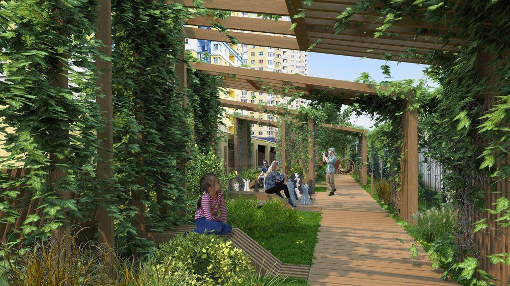 Деревянный навес и вертикальное озеленение создают камерное пространство.
