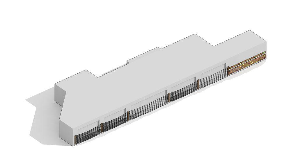 На стене въезда в паркинг размещается горизонтальный скалодром.